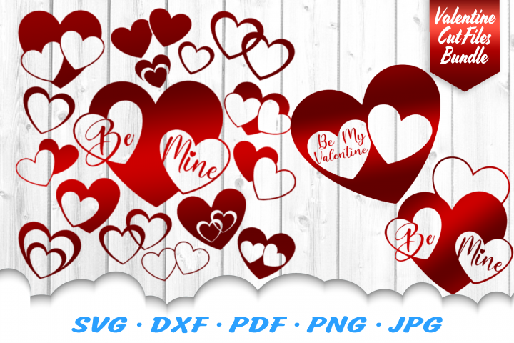 Valentines Day Hearts SVG DXF Cut Files Bundle