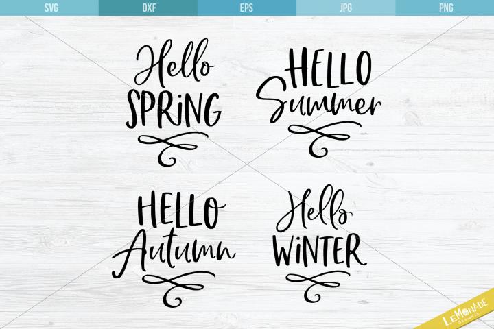 Hello Seasons Cutting File, 4 in 1 SVG, SVG Season Set