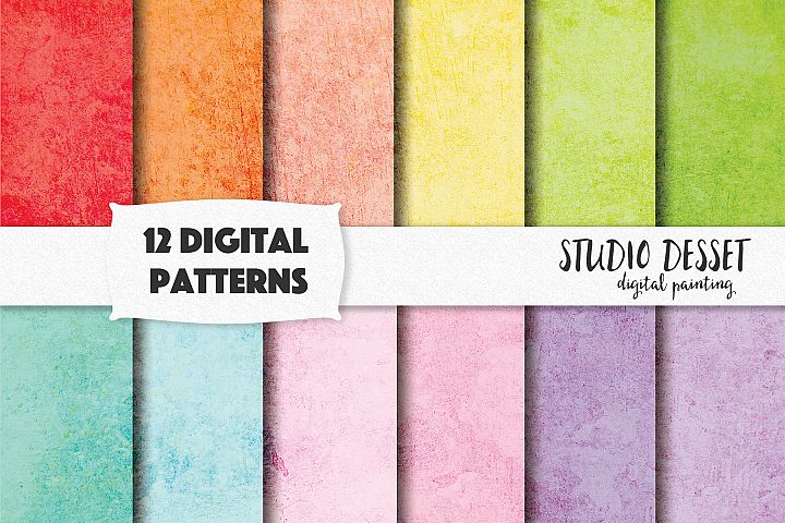 Grunge Textures, Rainbow Digital Papers