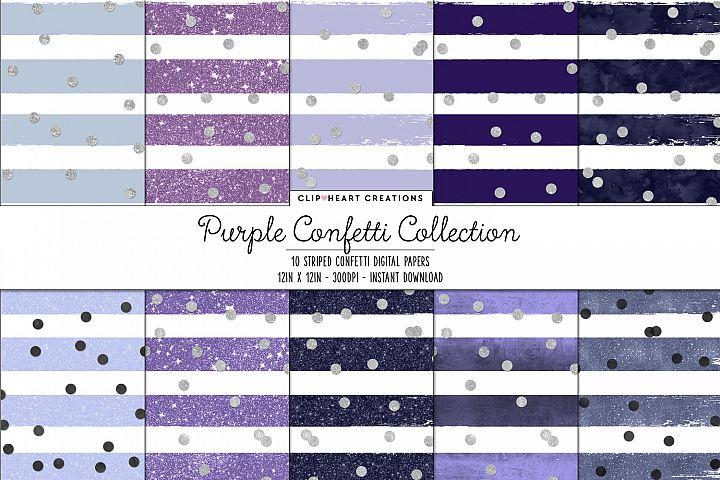 Purple & Silver Confetti Sparkle Digital Papers