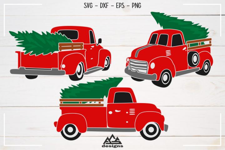Vintage Christmas Red Truck Packs Svg Design