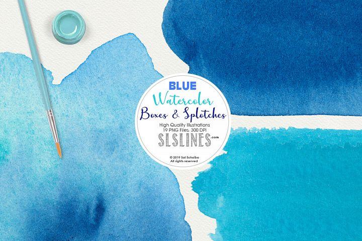 Blue Boxes & Splatters Watercolor Shapes Clipart