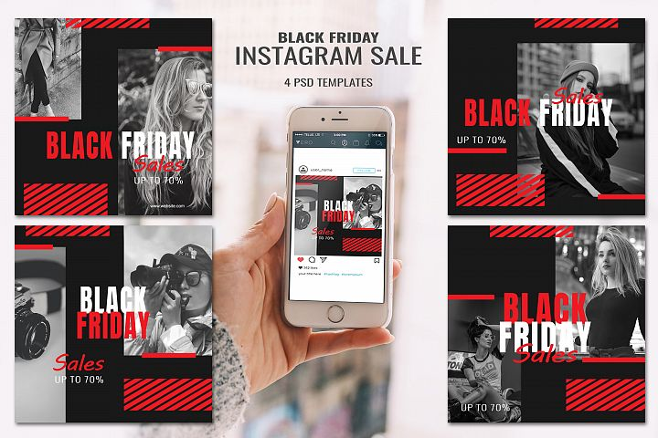 4 Black Friday Instagram Sale Banners PSD Templates