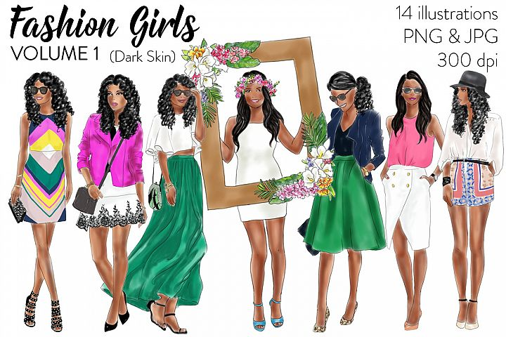 Fashion Girls - Volume 1 ( Dark skin) fashion illustration clipart