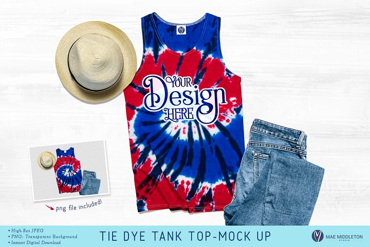 Tie Dye Tank Top with jeans Mock up
