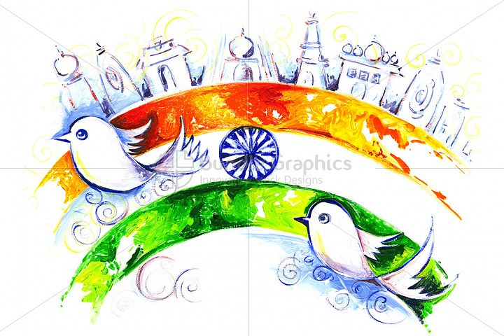 Independence Day of India Handmade Painting