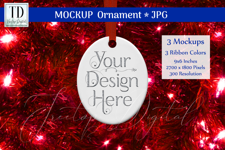 Oval Christmas Ornament Mockups, Bauble Mock-Up Red, JPG