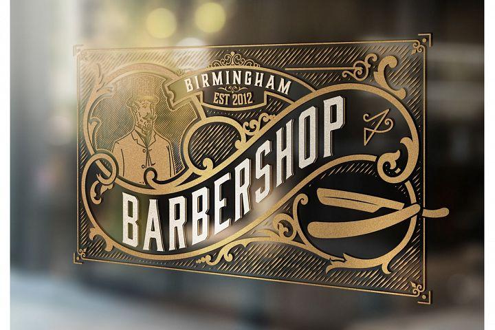 Barber shop logo, Western style