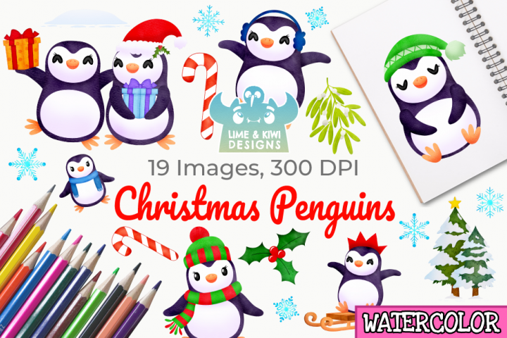 Christmas Penguins Watercolor Clipart, Instant Download