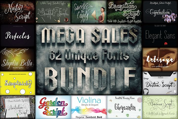 MEGA SALES 62 FONTS BUNDLE