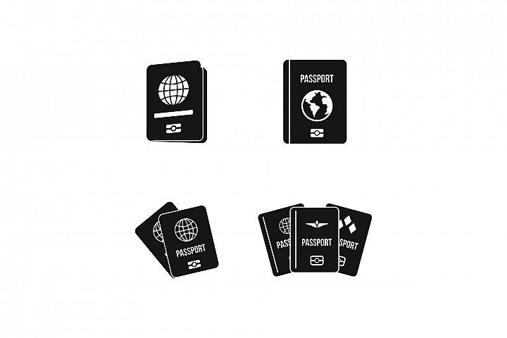 Passport icon set, simple style