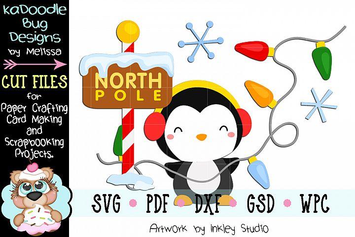 Christmas North Pole Penguin Cut File - SVG PDF DXF GSD WPC