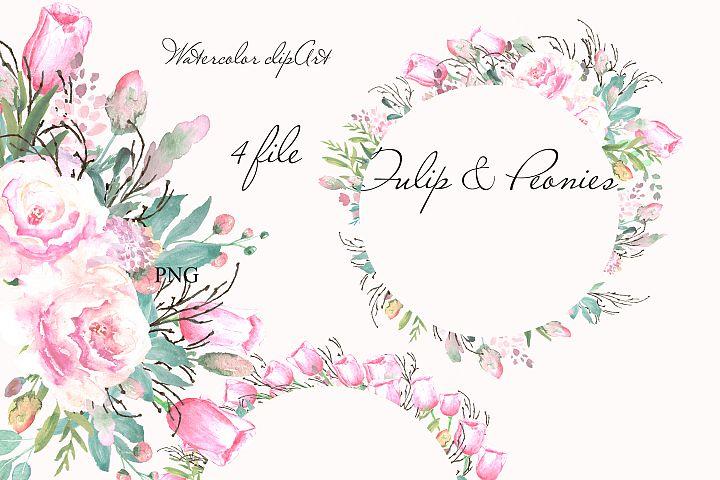 Watercolor blush flowers frames clipart design invitation
