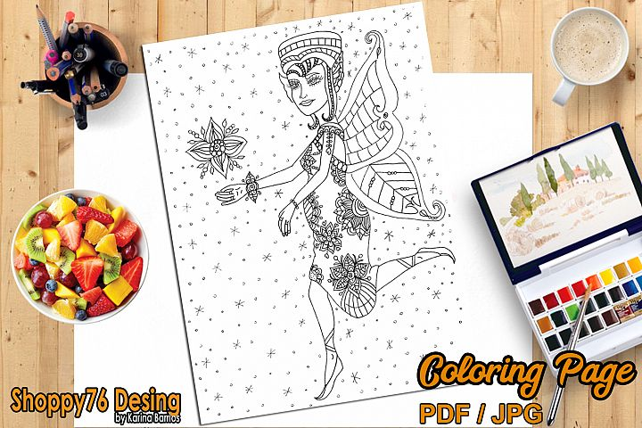 Fairy of motherhood / coloring page