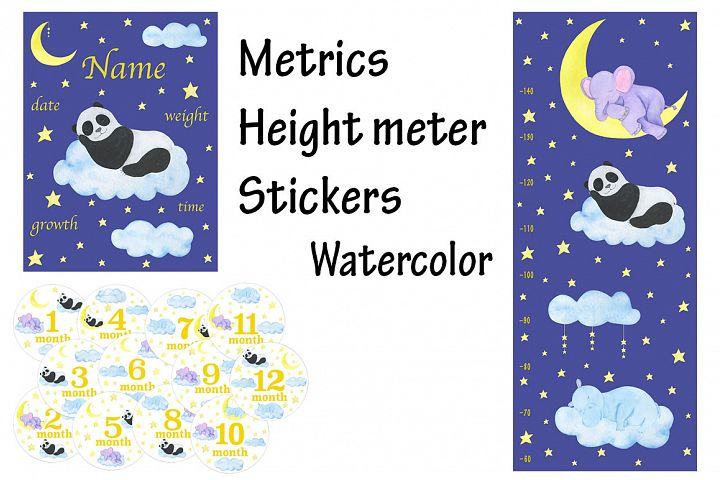 Metric height meter stickers watercolor