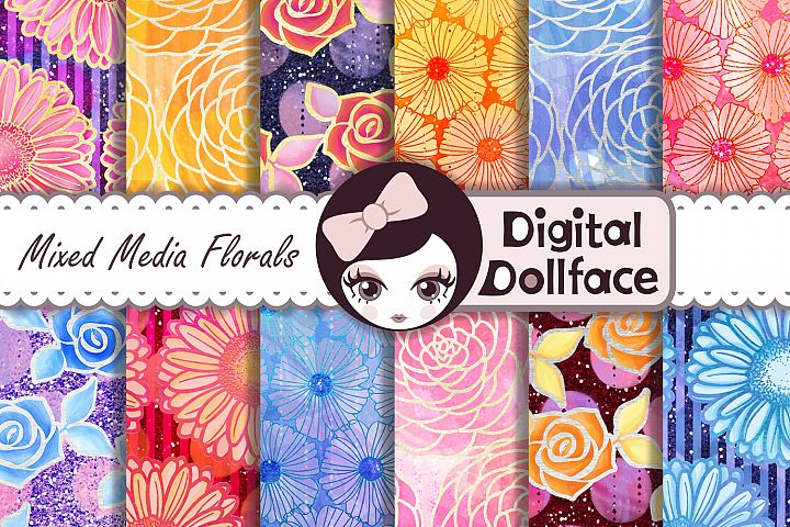 Glitter, Watercolor Florals / Mixed Media Digital Patterns