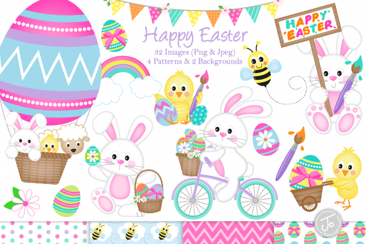 Easter clipart, easter bunny graphics & illustrations- C33