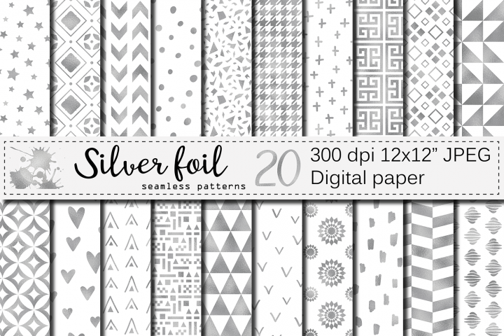 Silver foil seamless geometric patterns, digital papers