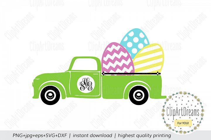 Easter SVG, Easter egg truck Monogram chevron polka dot