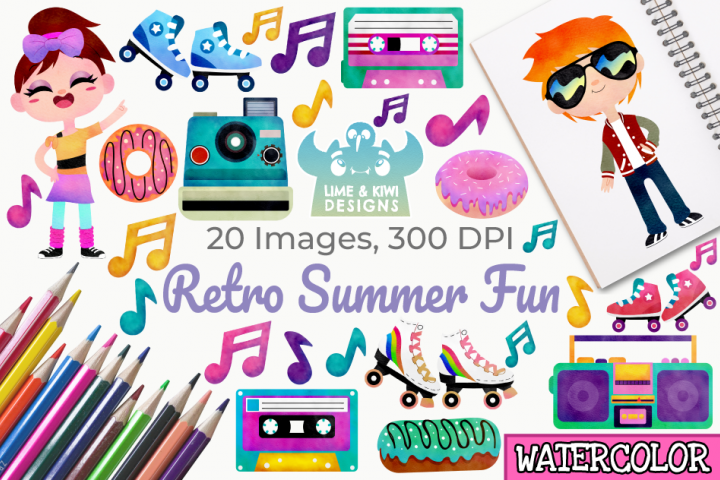 Retro Summer Fun Watercolor Clipart, Instant Download