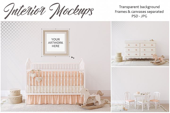 Girls nursery. Wall&Frames Mockup.