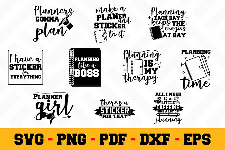 Planning 10 Designs Pack | Planner SVG Bundle