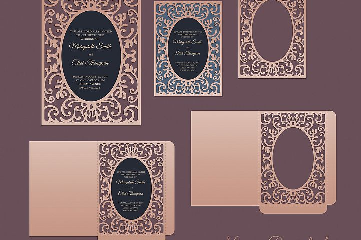 Ornamental frame envelope card 5x7, SVG Cricut Template