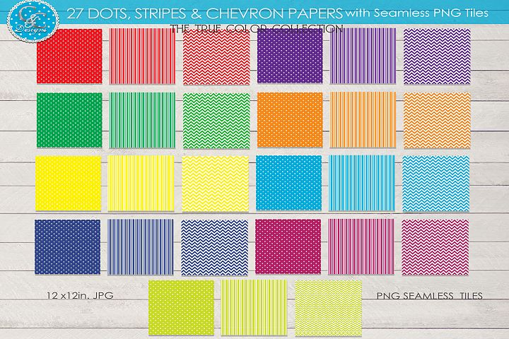 27 True Colors Dots Stripes Chevron Papers & Seamless Tiles