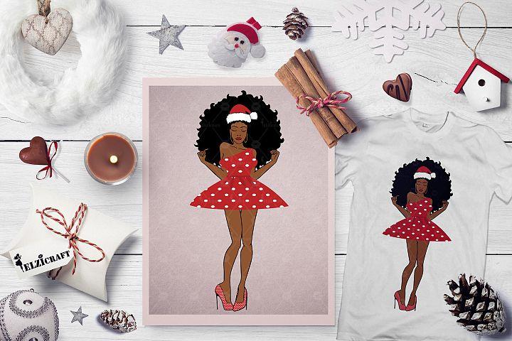 Christmas Afro Woman Santa Hat Melanin Poppin SVG Cut File