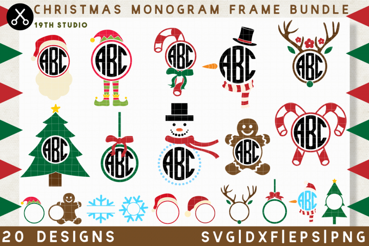 Christmas Monogram SVG Bundle | SVG DXF EPS PNG MB40