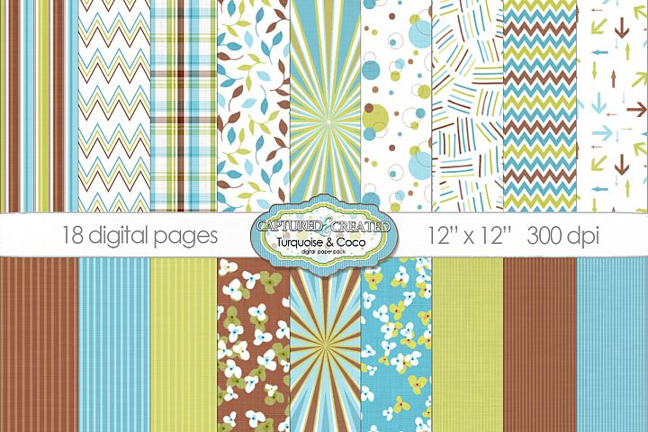 18 Turquoise & Coco Digital Paper Pack