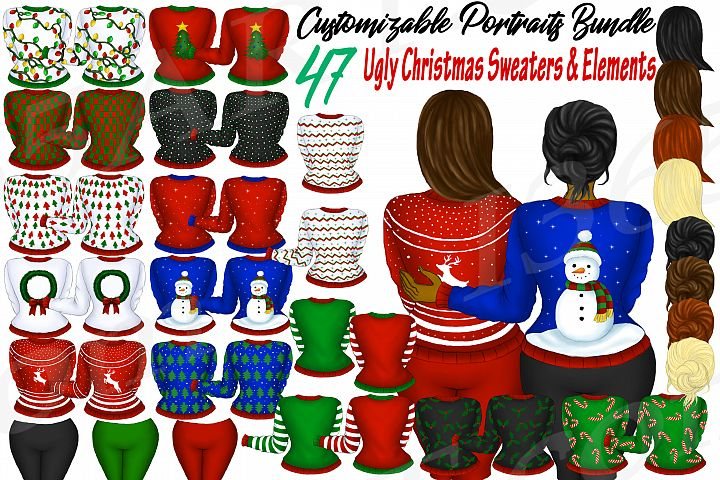 Custom Clipart Customizable Ugly Christmas Sweaters Buider