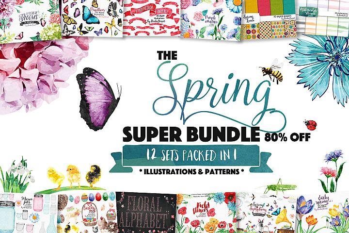 Spring Bundle of Illustrations & Patterns - Sublimation PNG