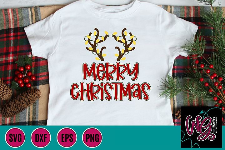 Merry Christmas Reindeer Antlers SVG, DXF, PNG, EPS