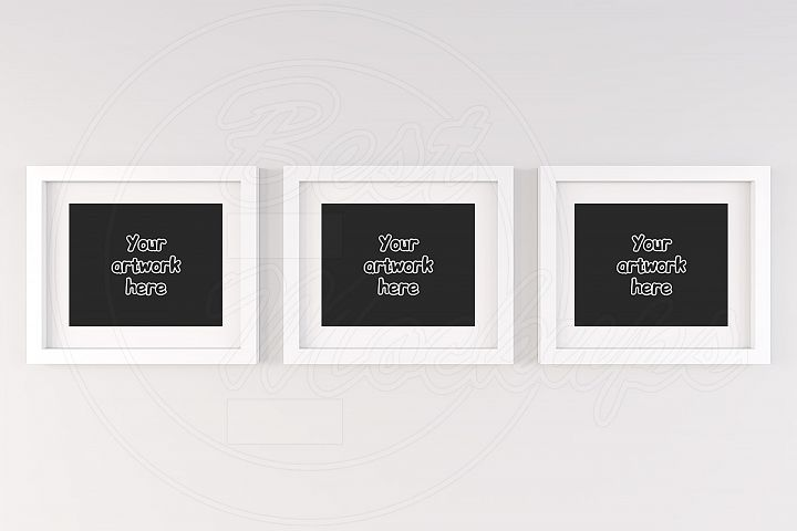 Three white matted frame mockup 8x10