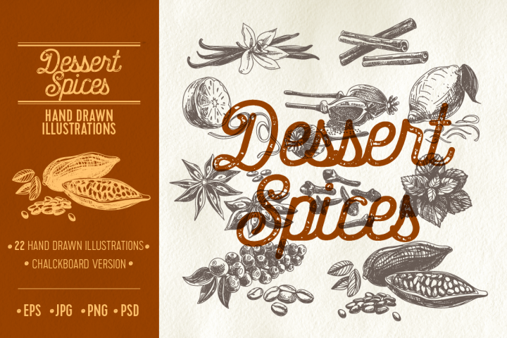 Hand drawn dessert spices