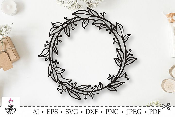 Graceful wreath with leaves and berries. SVG DXF cut file.