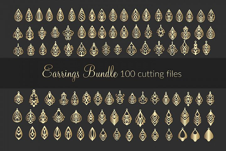 100 SVG Leather Earrings bundle - cricut maker - laser cut