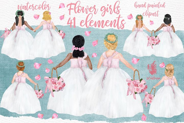 Flower girl clipart Wedding clipart Girls clipart