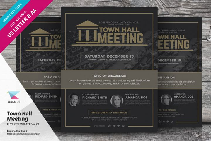 Town Hall Meeting Flyer Template Vol.01