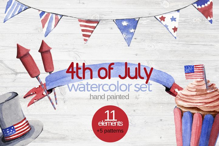 4th of July Watercolor Clipart Set Hand Painted Independence Day Illustration