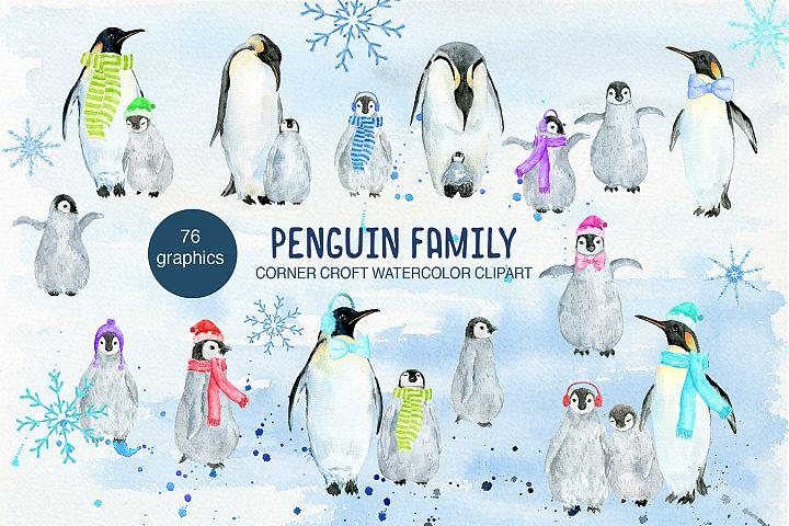 Watercolor penguin family illustration, penguin clipart