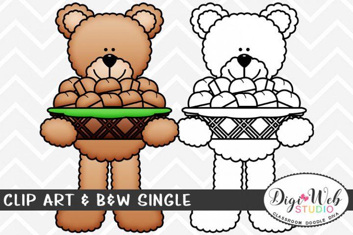 Clip Art & B&W Single - Thanksgiving Bear w/ Dinner Rolls