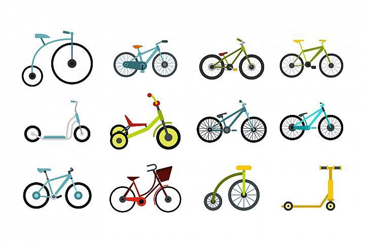 Bike icon set, flat style