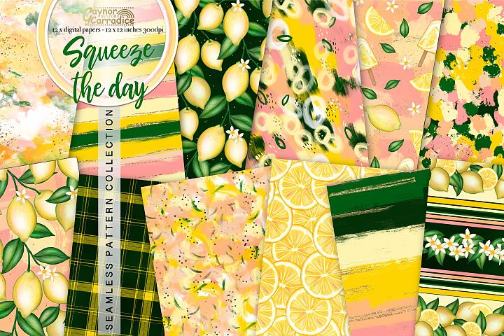 Summer Lemons seamless pattern collection