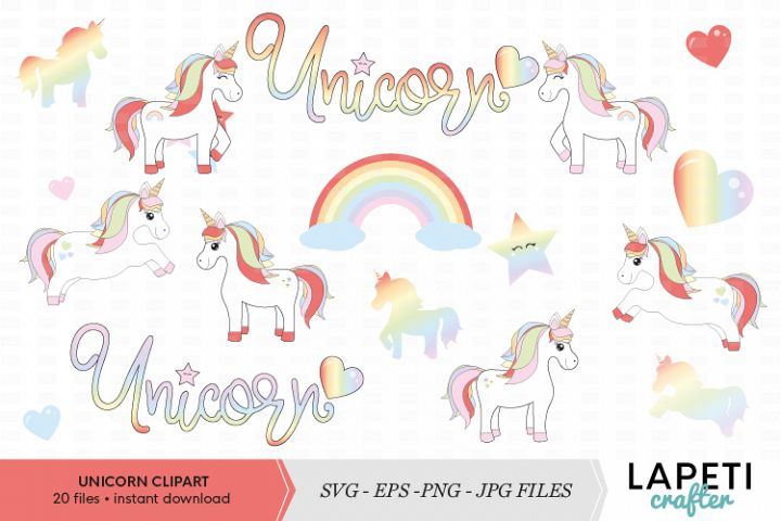 Unicorn clipart set, isolated unicorn graphic, png, jpg, svg