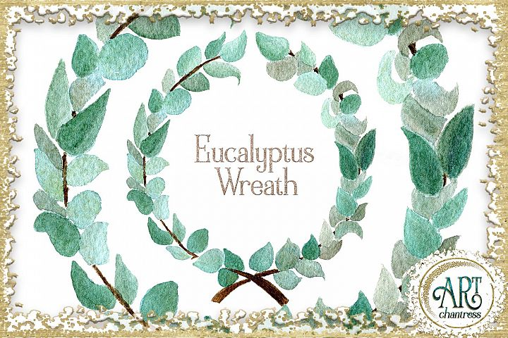 Watercolor Boho Greenery Eucalyptus wreath PNG