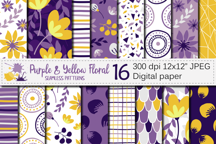 Purple and yellow floral seamless digital paper, patterns