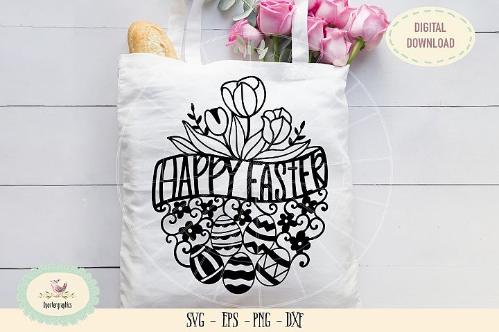 Happy Easter eggs paper cut SVG PNG tulips paper cut