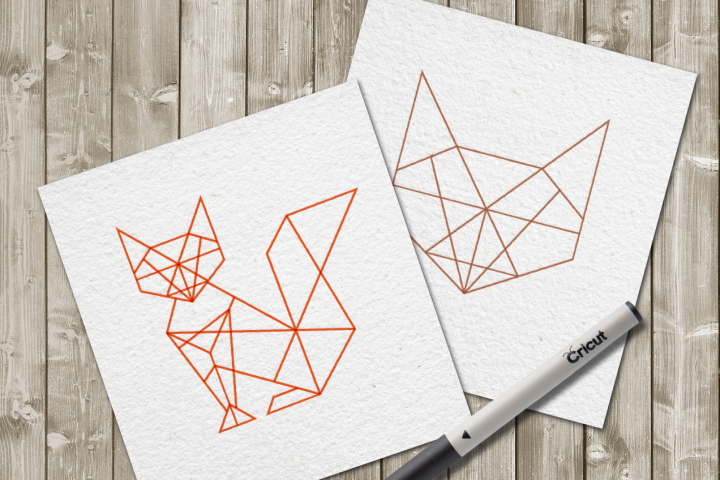 Geometric Fox SKETCH Single Line Drawing SVG File